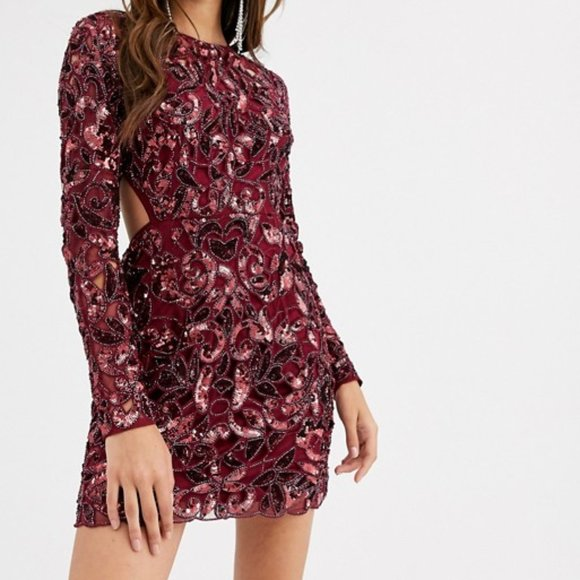 ASOS EDITION Party Red Sequin Cut Out Mini Dress 8